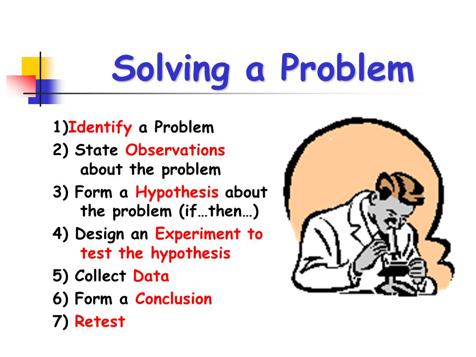 Solving a Problem 1)Identify a Problem 2) State Observations about the problem 3) Form a Hypothesis about the problem (if…then…) 4) Design an Experime