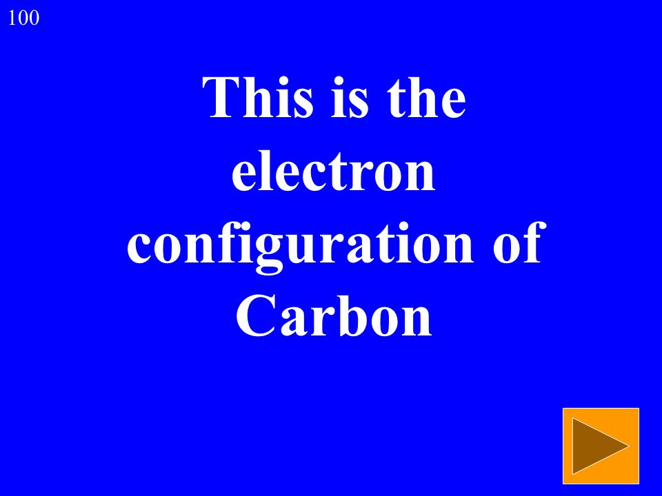This is the electron configuration of Carbon 100