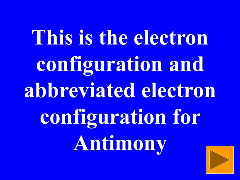 This is the electron configuration and abbreviated electron configuration for Antimony