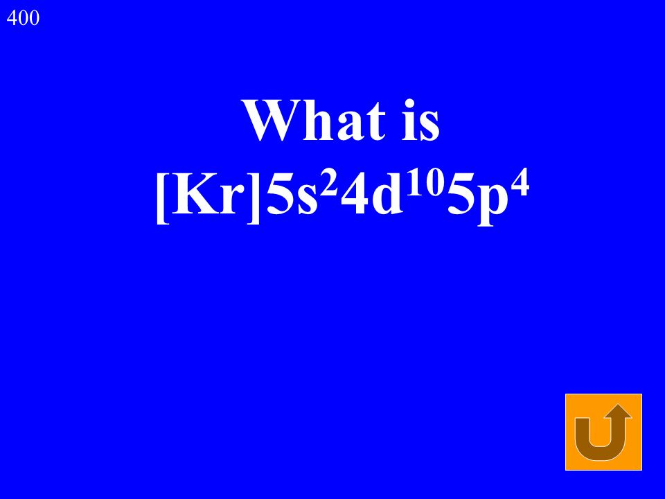 What is [Kr]5s 2 4d 10 5p 4 400
