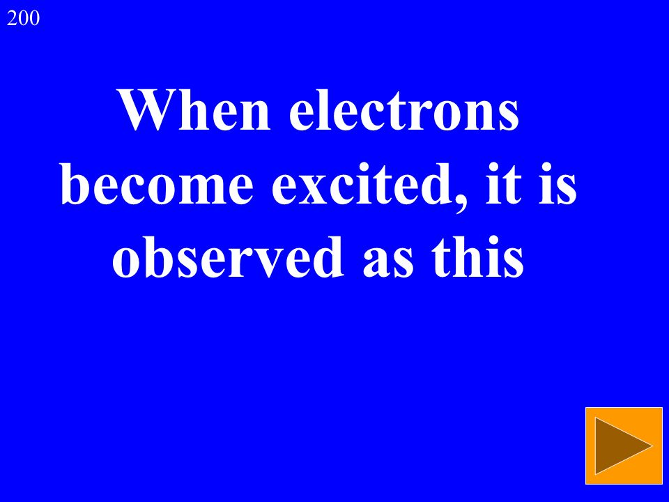 When electrons become excited, it is observed as this 200