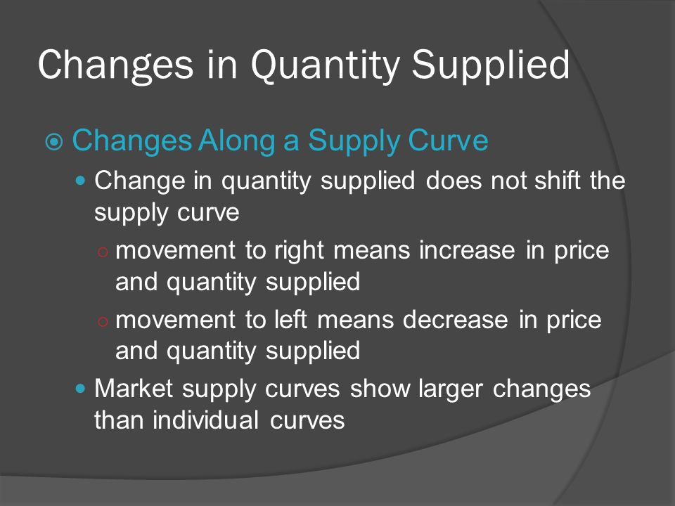 Changes in Quantity Supplied Changes Along a Supply Curve Change in quantity supplied does not shift the supply curve movement to right means increase