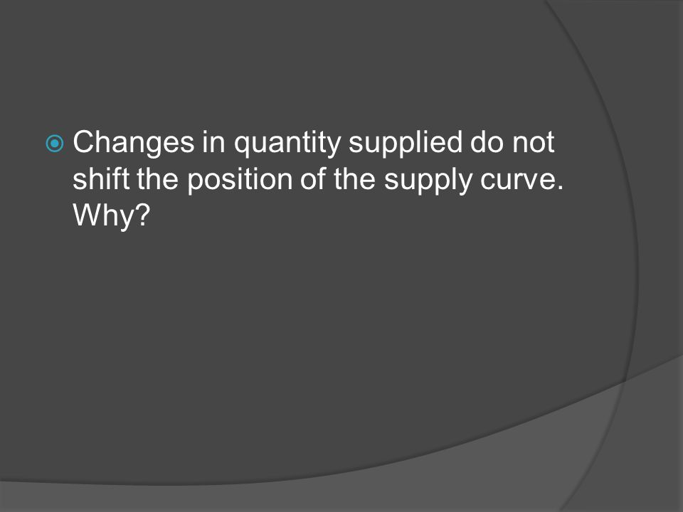 Changes in quantity supplied do not shift the position of the supply curve. Why?