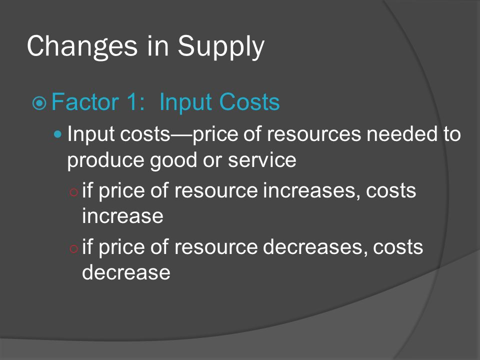 Changes in Supply Factor 1: Input Costs Input costsprice of resources needed to produce good or service if price of resource increases, costs increase