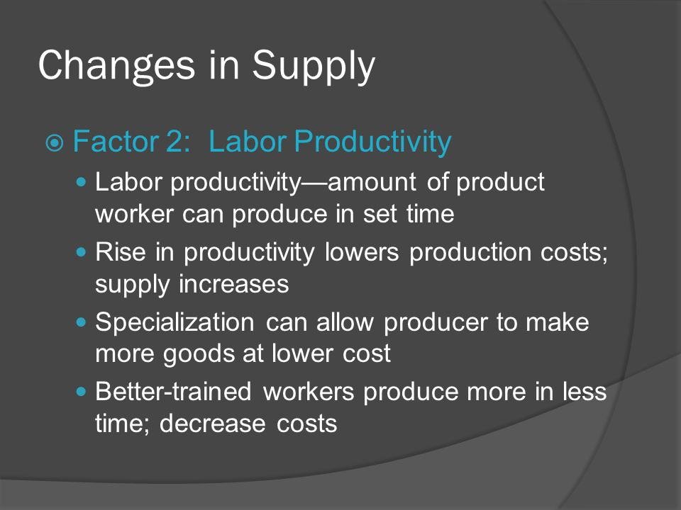 Changes in Supply Factor 2: Labor Productivity Labor productivityamount of product worker can produce in set time Rise in productivity lowers producti