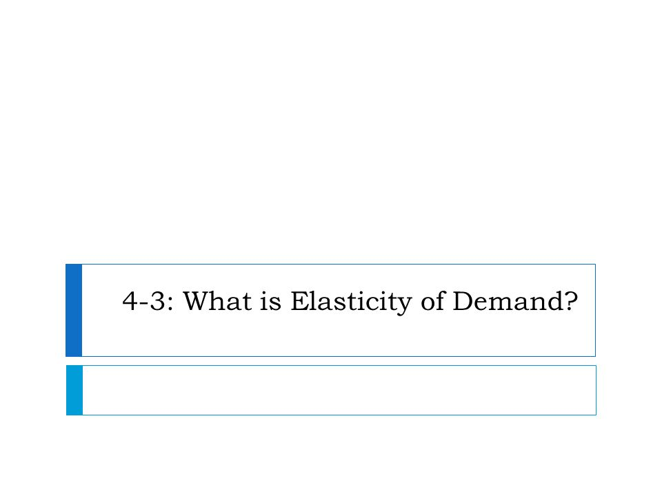 4-3: What is Elasticity of Demand?