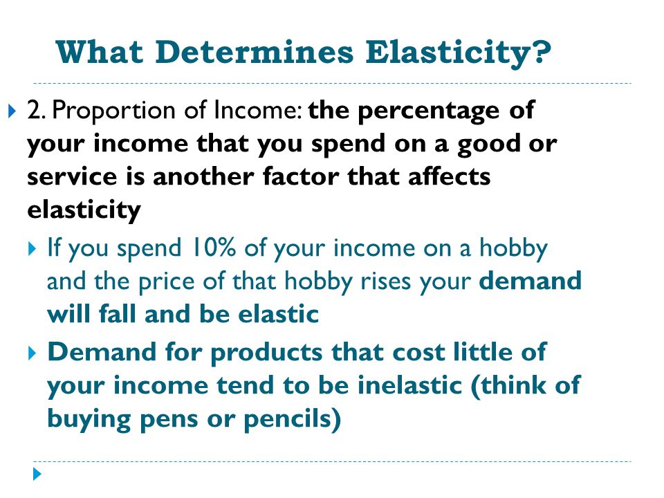 What Determines Elasticity? 2. Proportion of Income: the percentage of your income that you spend on a good or service is another factor that affects