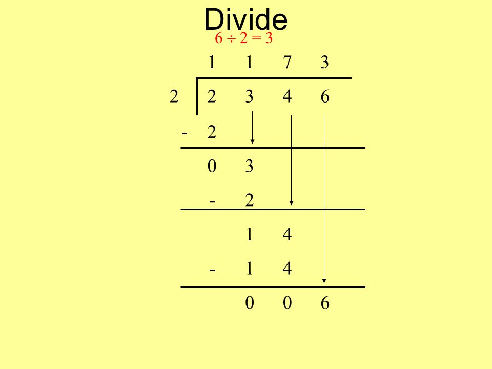 Divide 6 2 = 3 1173 22346 -2 03 -2 14 -14 006