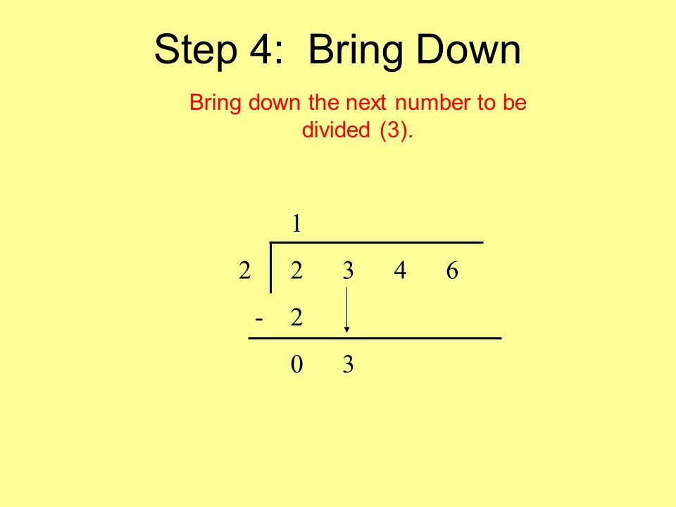 Step 4: Bring Down Bring down the next number to be divided (3). 1 22346 -2 03