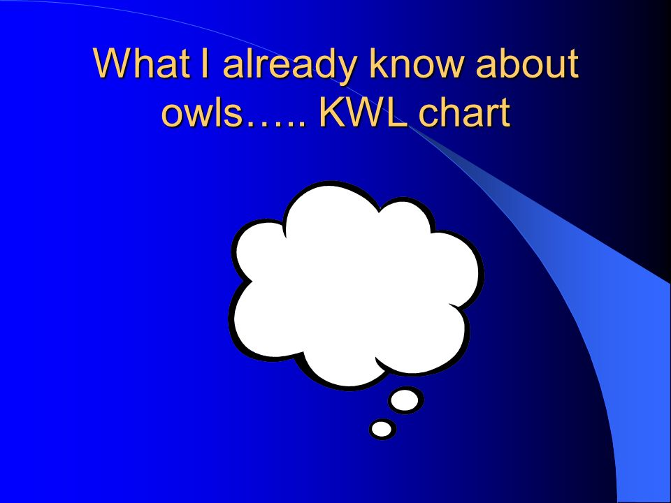 What I already know about owls….. KWL chart