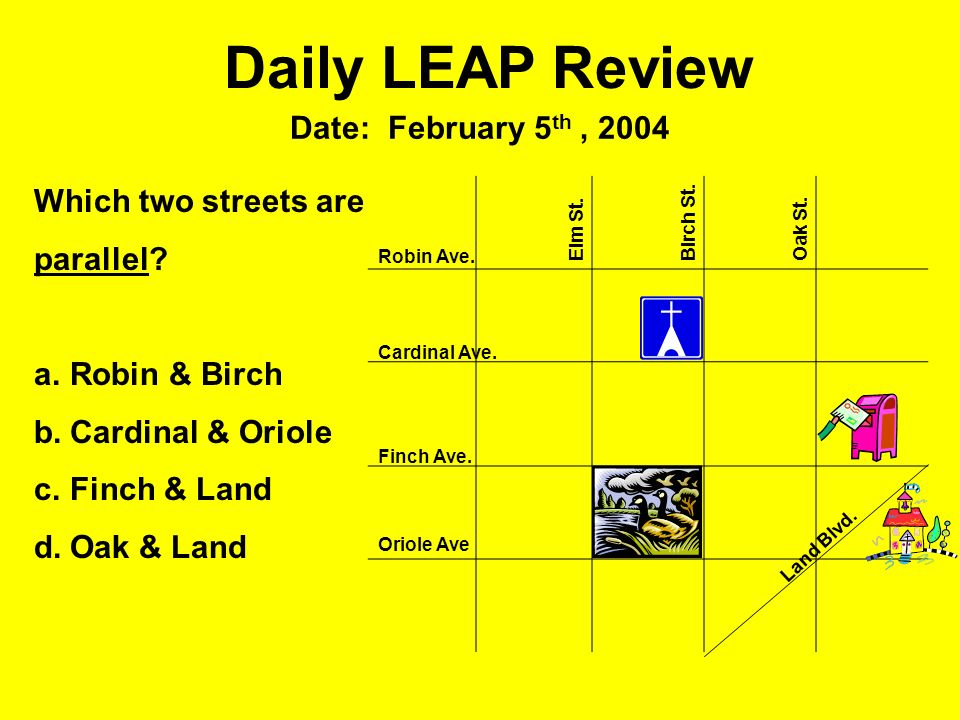 Daily LEAP Review Date: February 5 th, 2004 Robin Ave. Cardinal Ave. Finch Ave. Oriole Ave Elm St.Birch St.Oak St. Land Blvd. Which two streets are pa