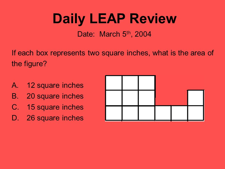 Daily LEAP Review If each box represents two square inches, what is the area of the figure? A.12 square inches B.20 square inches C.15 square inches D