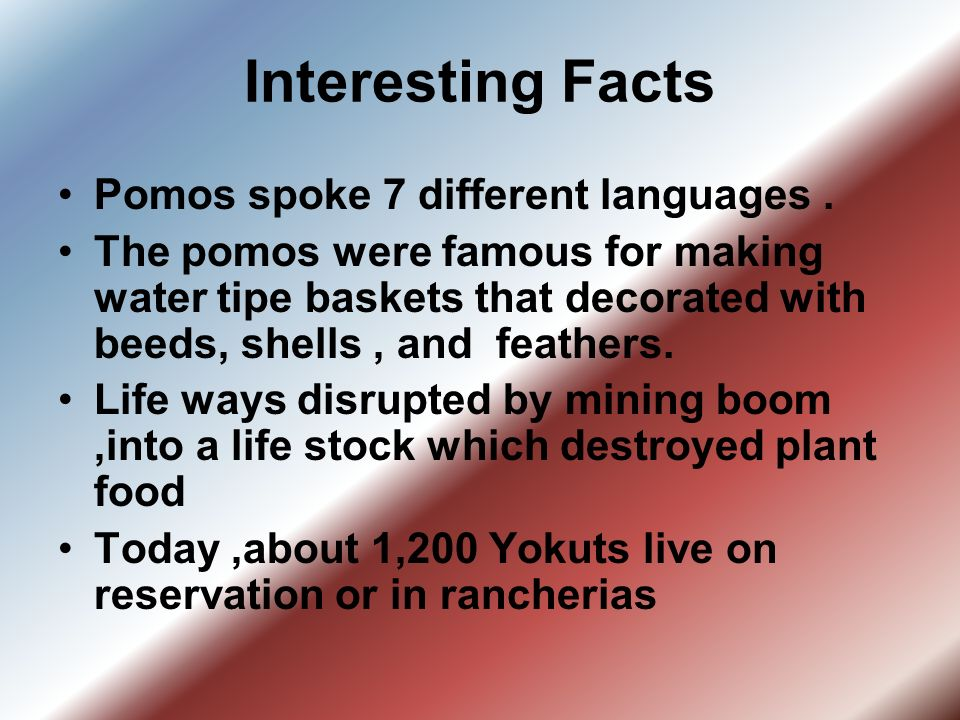 Interesting Facts Pomos spoke 7 different languages. The pomos were famous for making water tipe baskets that decorated with beeds, shells, and feathe