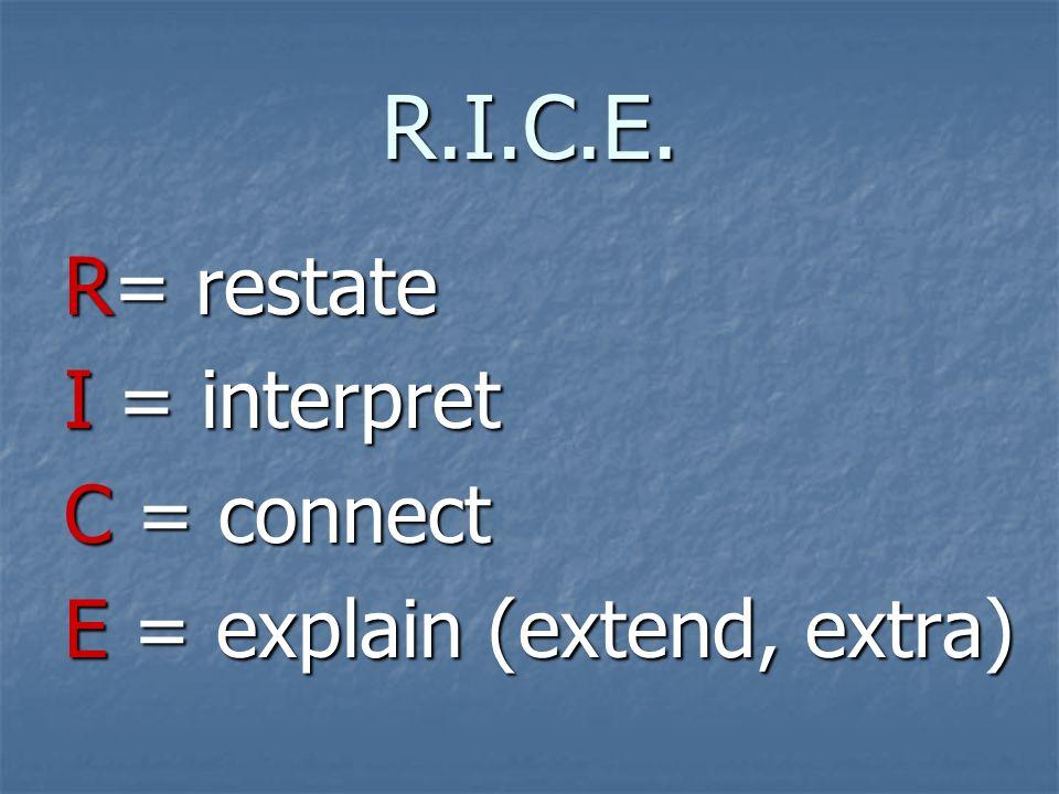 R.I.C.E. R= restate I = interpret C = connect E = explain (extend, extra)