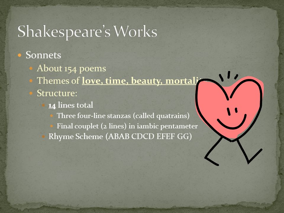 Sonnets About 154 poems Themes of love, time, beauty, mortality Structure: 14 lines total Three four-line stanzas (called quatrains) Final couplet (2