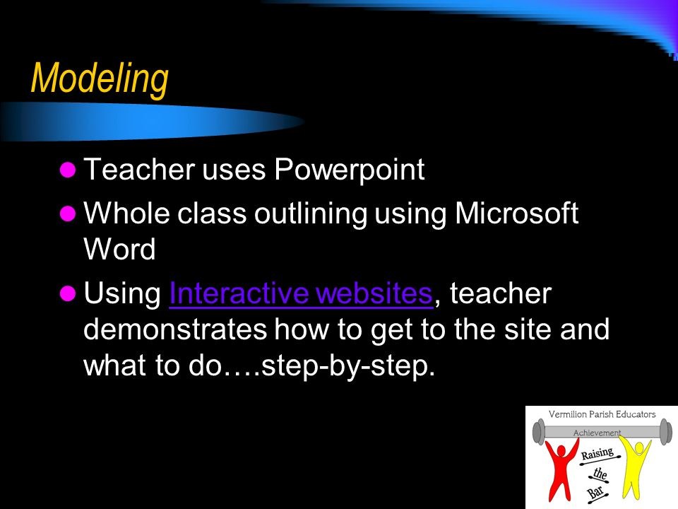 Modeling Teacher uses Powerpoint Whole class outlining using Microsoft Word Using Interactive websites, teacher demonstrates how to get to the site and what to do….step-by-step.Interactive websites