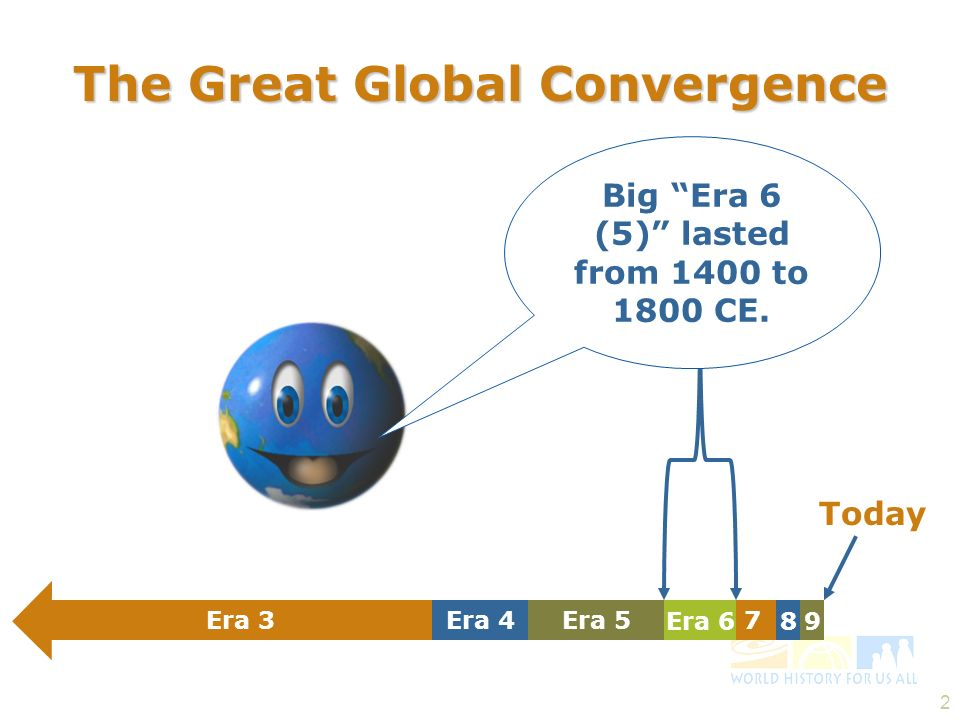 2 The Great Global Convergence Big Era 6 (5) lasted from 1400 to 1800 CE. 9 7 Era 6 Era 3Era 5Era 4 8 Today The Great Global Convergence