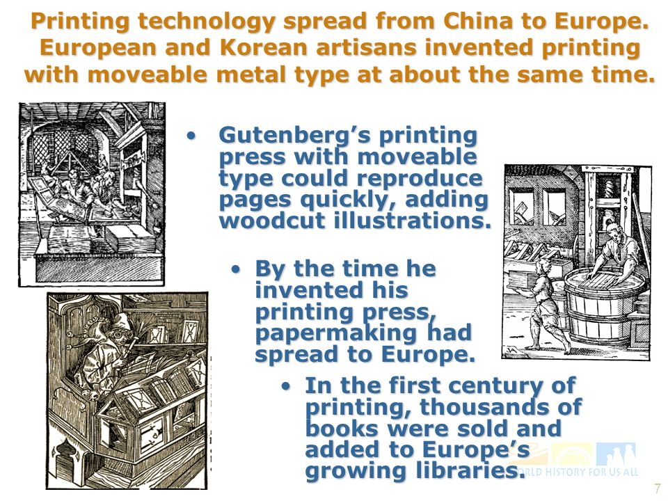 7 Printing technology spread from China to Europe. European and Korean artisans invented printing with moveable metal type at about the same time. Gut