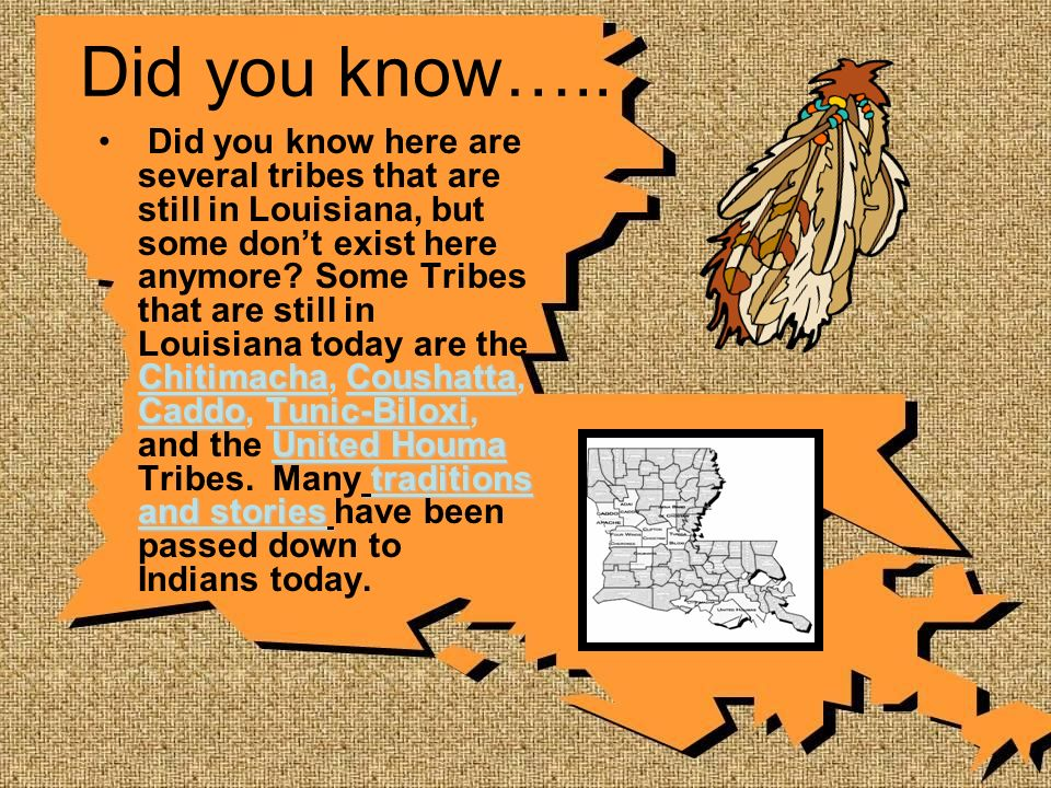 Did you know….. ChitimachaCoushatta CaddoTunic-Biloxi United Houma traditions and stories Did you know here are several tribes that are still in Louis