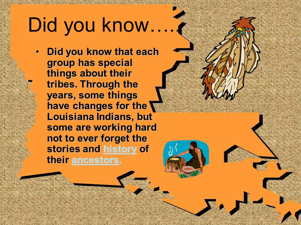 Did you know….. Did you know that each group has special things about their tribes. Through the years, some things have changes for the Louisiana Indi