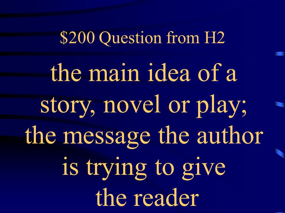 $100 Answer from H2 What is plot