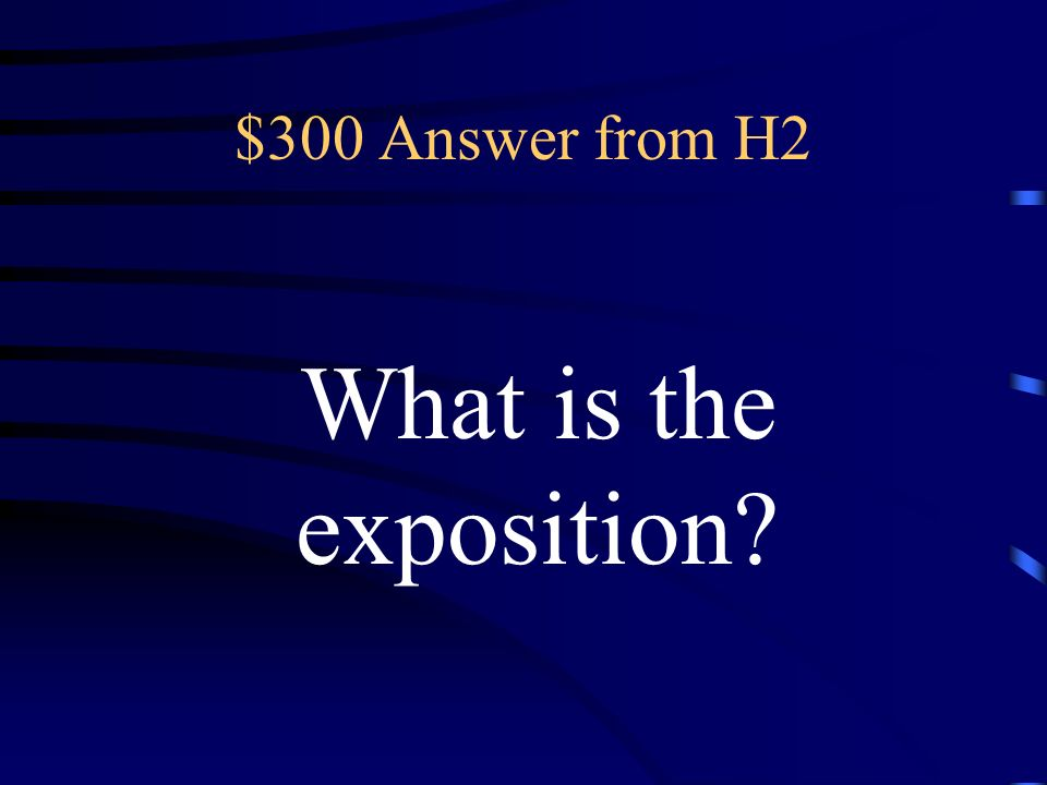 $300 Question from H2 in this part of the story, the writer introduces the story, setting, and characters of the story