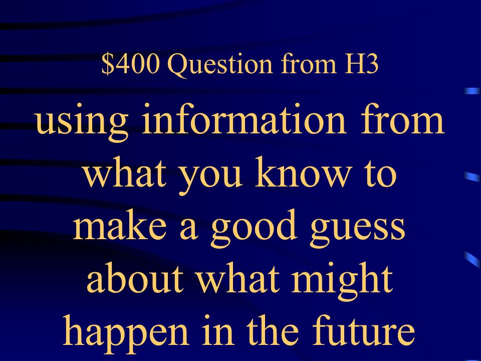 $300 Answer from H3 What is a flashback