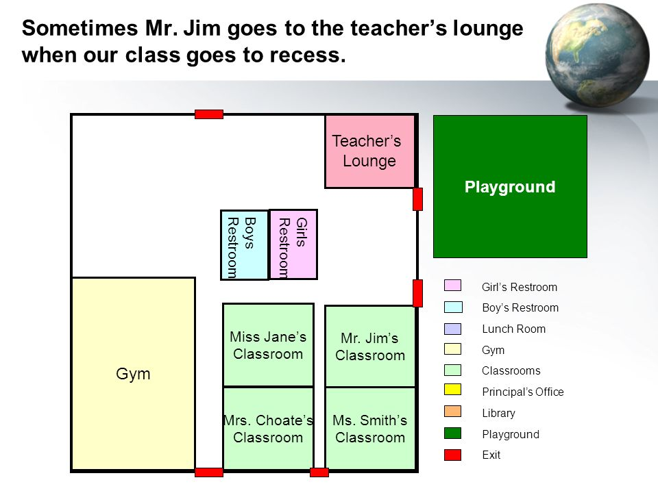 Playground Teachers Lounge Gym Mr. Jims Classroom Ms.