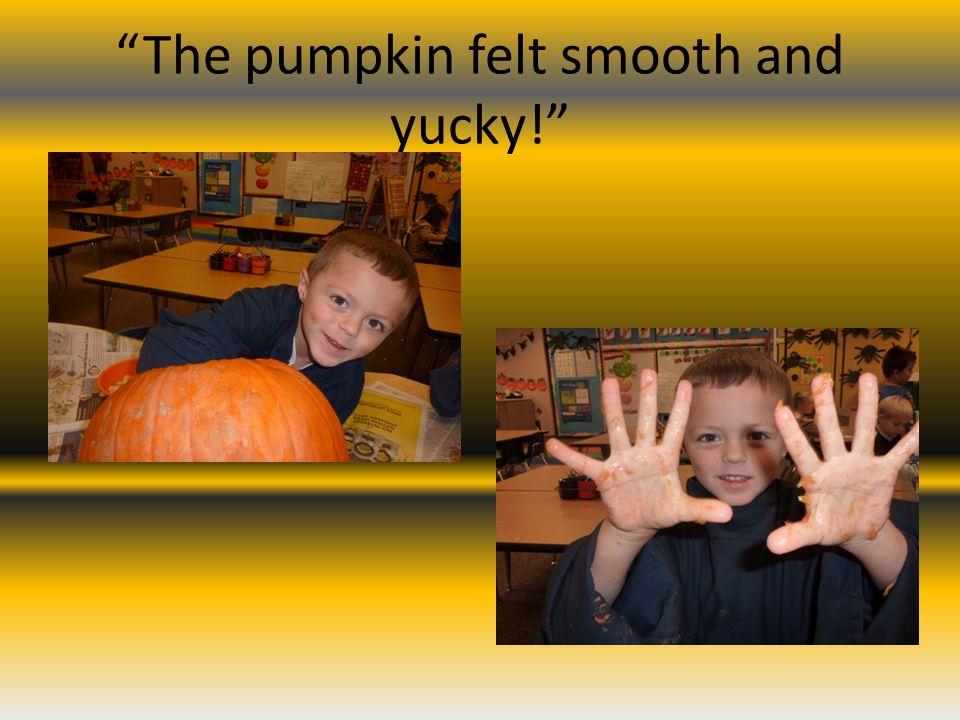 The pumpkin felt smooth and yucky!