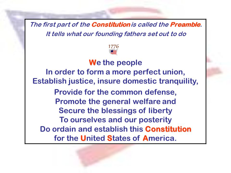 ConstitutionPreamble The first part of the Constitution is called the Preamble. It tells what our founding fathers set out to do W We the people In or