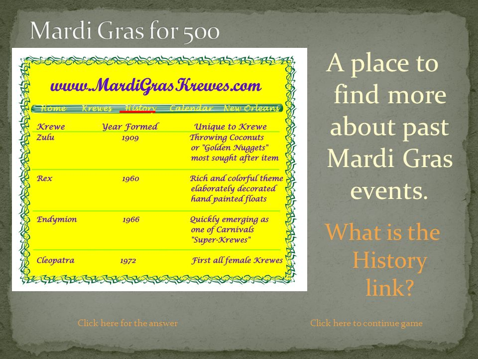 A place to find more about past Mardi Gras events.