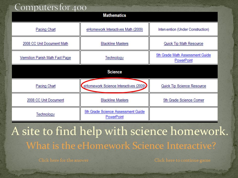 A site to find help with science homework. What is the eHomework Science Interactive.