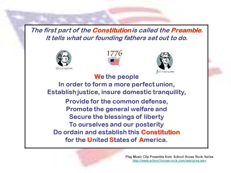 ConstitutionPreamble The first part of the Constitution is called the Preamble. It tells what our founding fathers set out to do. W We the people In o
