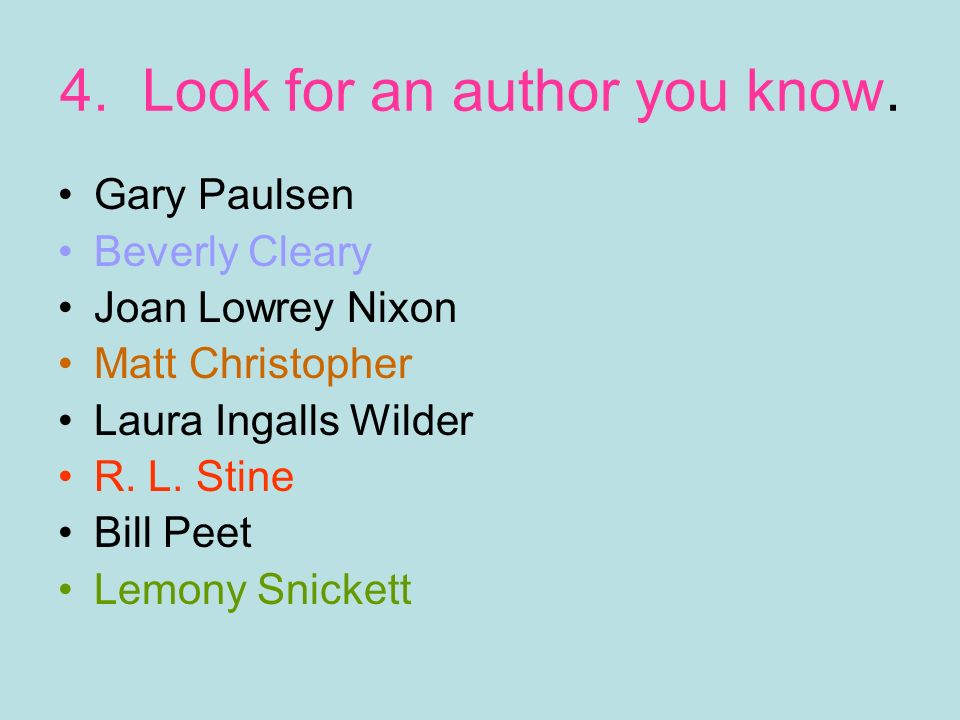 4. Look for an author you know.