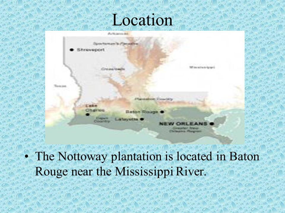 Location The Nottoway plantation is located in Baton Rouge near the Mississippi River.