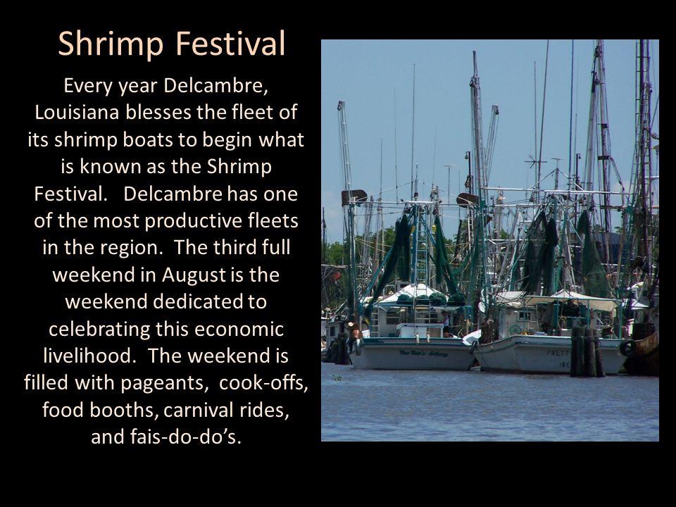 Shrimp Festival Every year Delcambre, Louisiana blesses the fleet of its shrimp boats to begin what is known as the Shrimp Festival. Delcambre has one