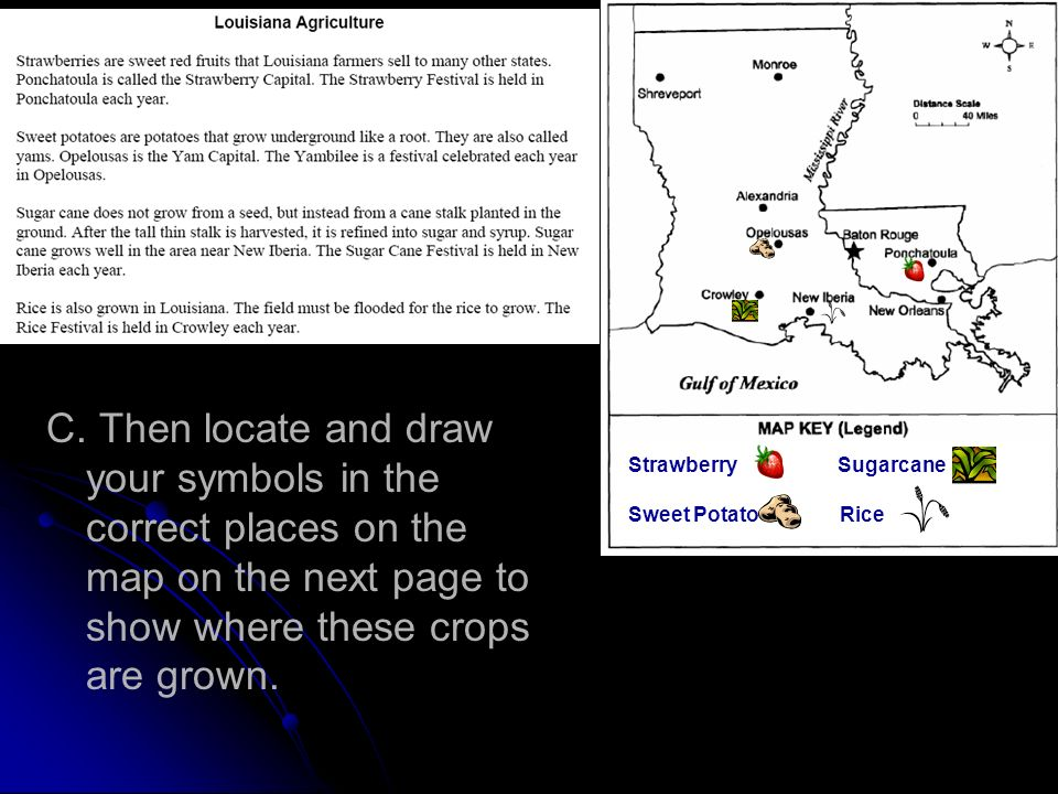 C. Then locate and draw your symbols in the correct places on the map on the next page to show where these crops are grown. Strawberry Sugarcane Sweet