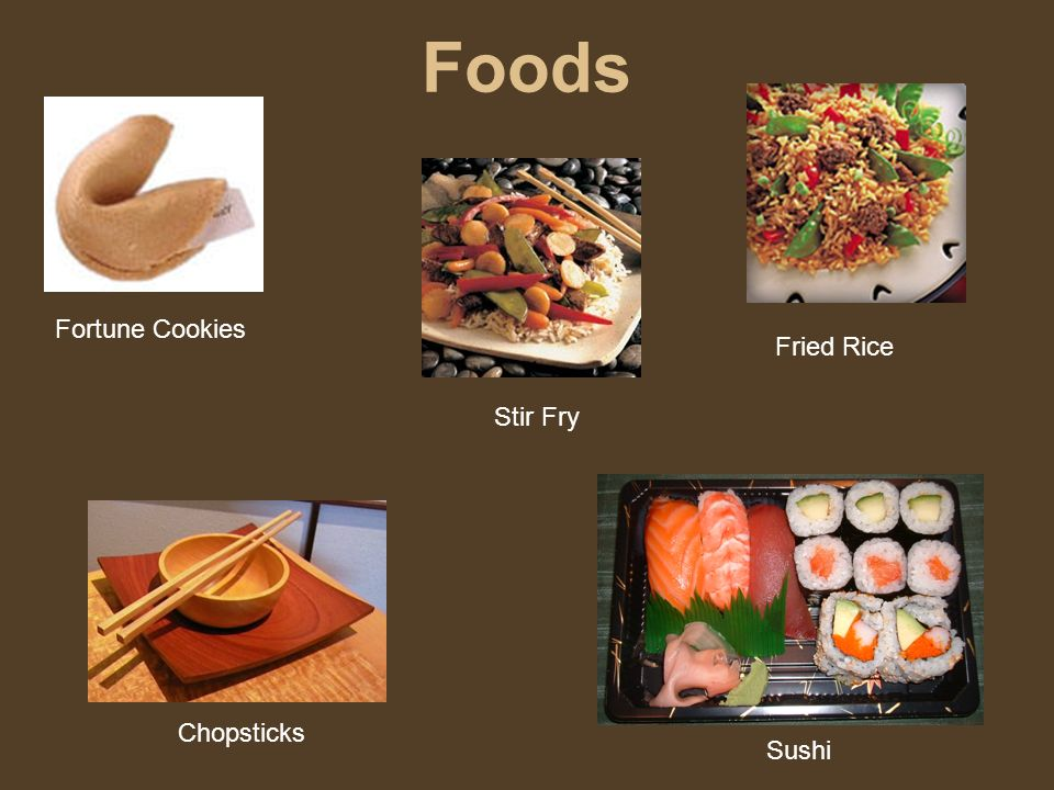 Foods Sushi Fortune Cookies Chopsticks Stir Fry Fried Rice