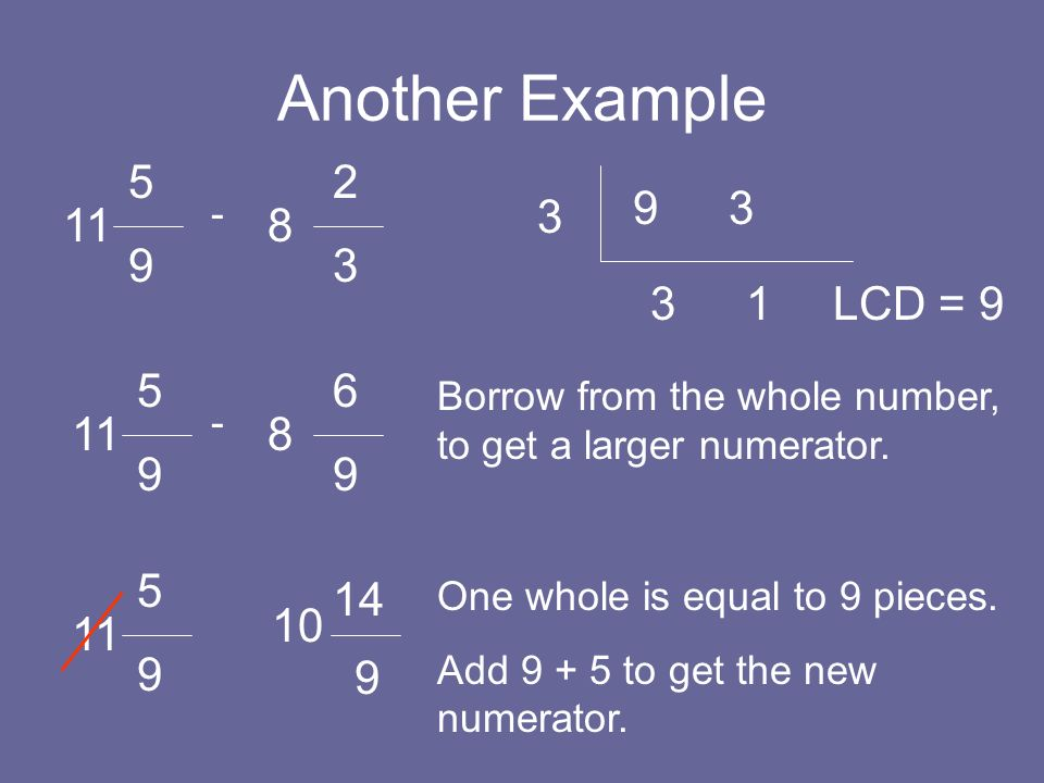 Another Example 5 9 11 8 - 2323 9 3 3 3 1 LCD = 9 5 9 11 8 - 6969 Borrow from the whole number, to get a larger numerator. 5 9 11 10 9 One whole is eq