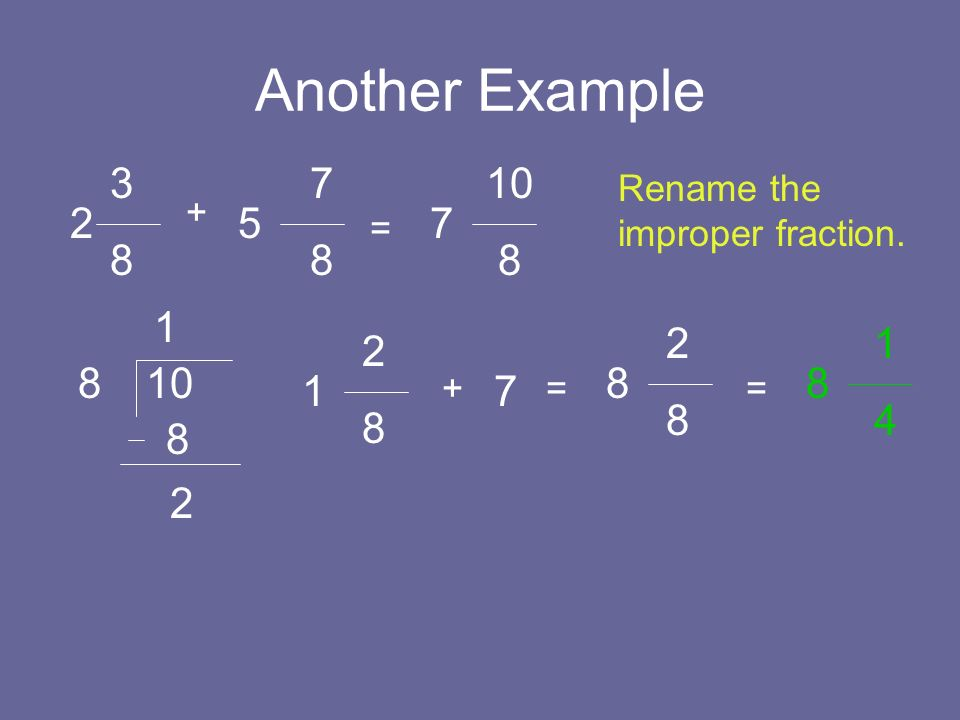 Another Example 3 8 2 5 + = 7 8 7 10 8 Rename the improper fraction. 10 8 1 8 2 1 2 8 + 7 = 8 2 8 = 8 1 4