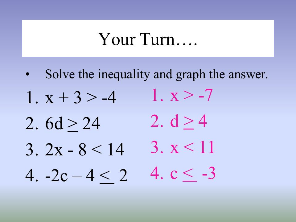Your Turn…. Solve the inequality and graph the answer. 1.x + 3 > -4 2.6d > 24 3.2x - 8 < 14 4.-2c – 4 < 2 1.x > -7 2.d > 4 3.x < 11 4.c < -3