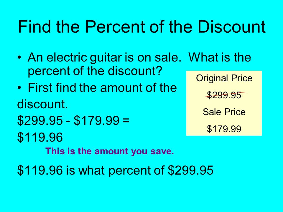 Find the Percent of the Discount An electric guitar is on sale.
