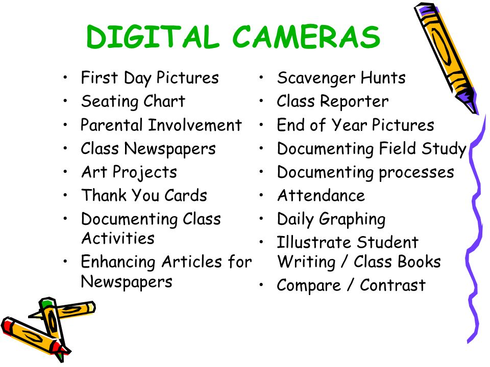 DIGITAL CAMERAS First Day Pictures Seating Chart Parental Involvement Class Newspapers Art Projects Thank You Cards Documenting Class Activities Enhancing Articles for Newspapers Scavenger Hunts Class Reporter End of Year Pictures Documenting Field Study Documenting processes Attendance Daily Graphing Illustrate Student Writing / Class Books Compare / Contrast