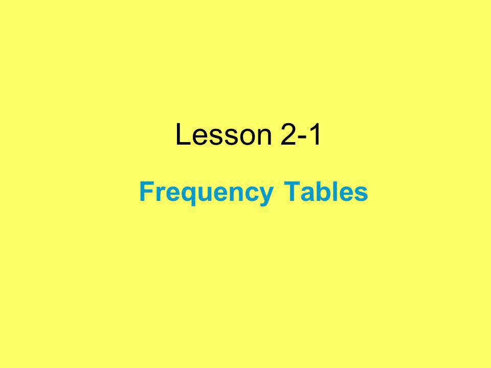Lesson 2-1 Frequency Tables