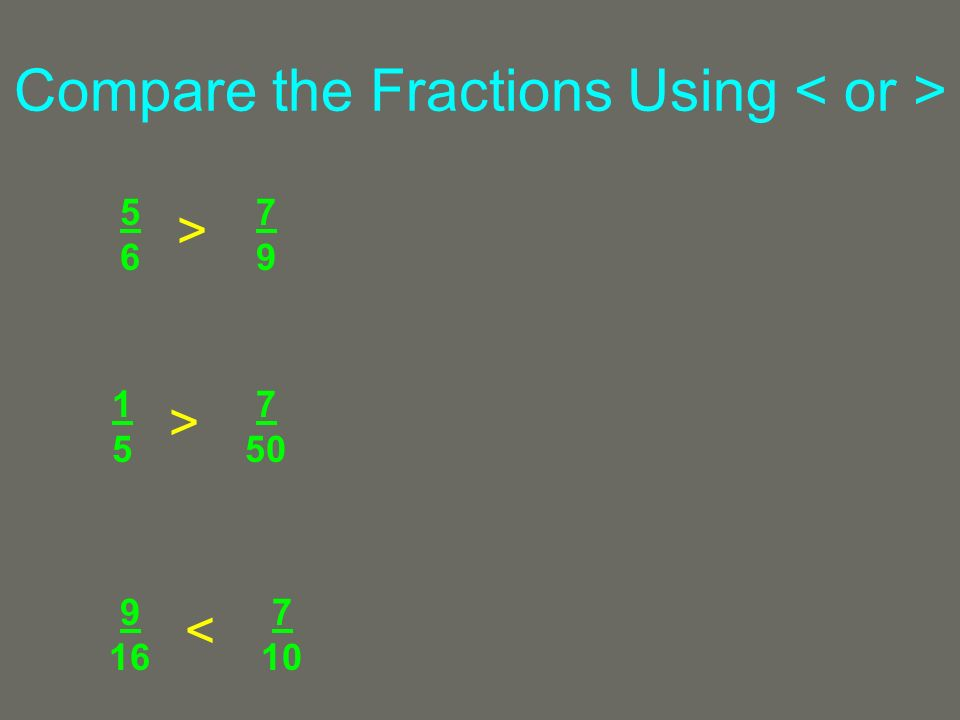 Compare the Fractions Using 5656 7979 1515 7 50 9 16 7 10 > > <