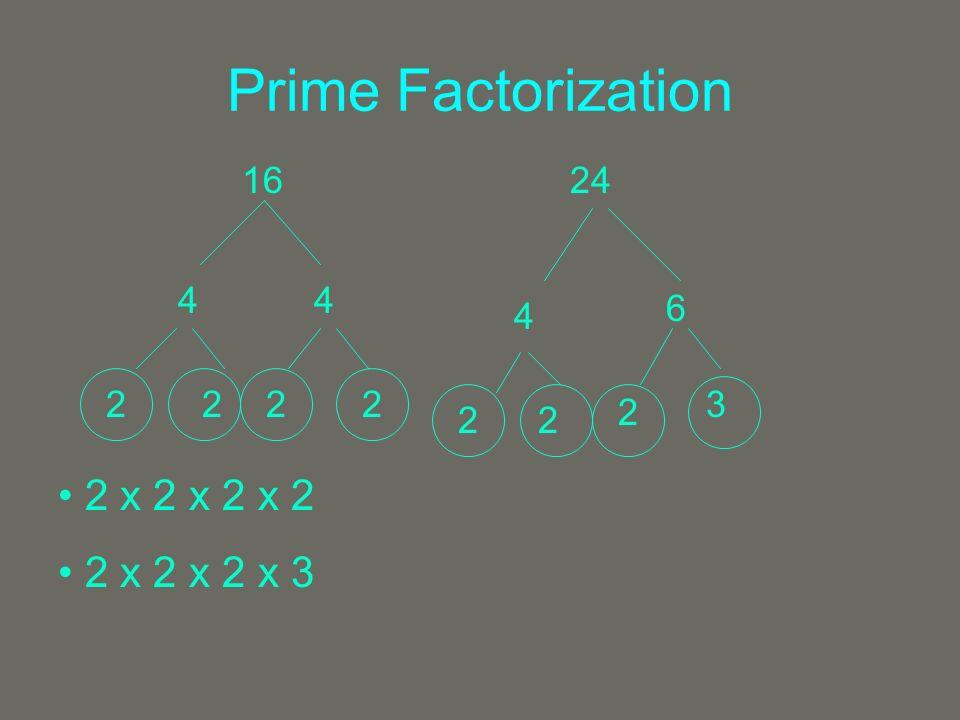 Prime Factorization 1624 44 2222 4 6 22 2 3 2 x 2 x 2 x 2 2 x 2 x 2 x 3