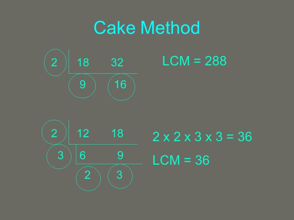 Cake Method 1832 2 9 16 LCM = 288 1218 2 6 9 3 2 3 2 x 2 x 3 x 3 = 36 LCM = 36