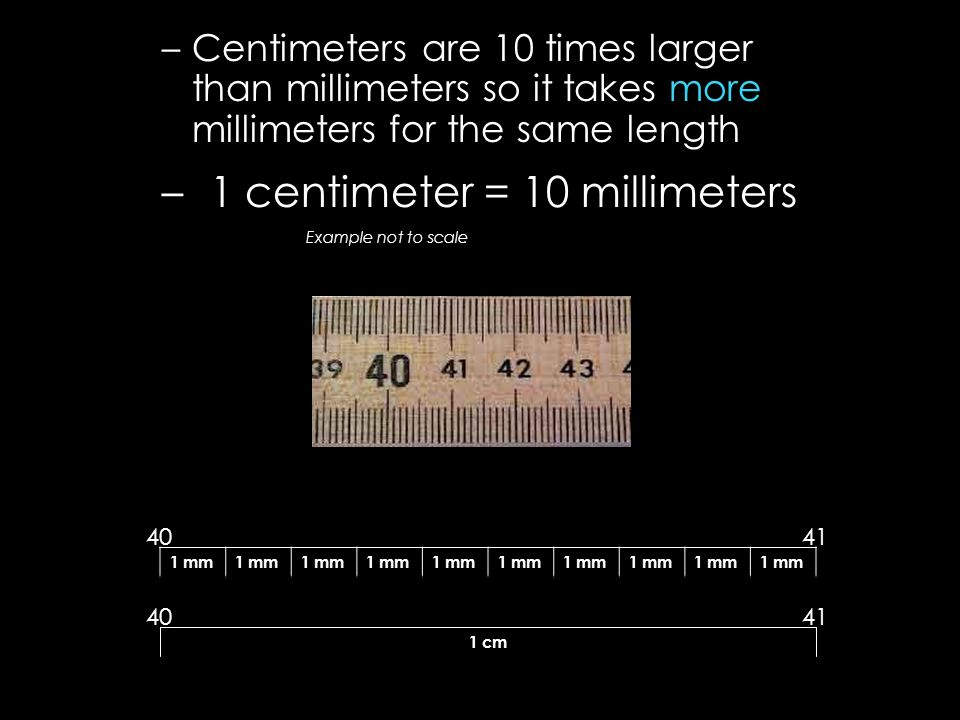 –Centimeters are 10 times larger than millimeters so it takes more millimeters for the same length –1 centimeter = 10 millimeters Example not to scale