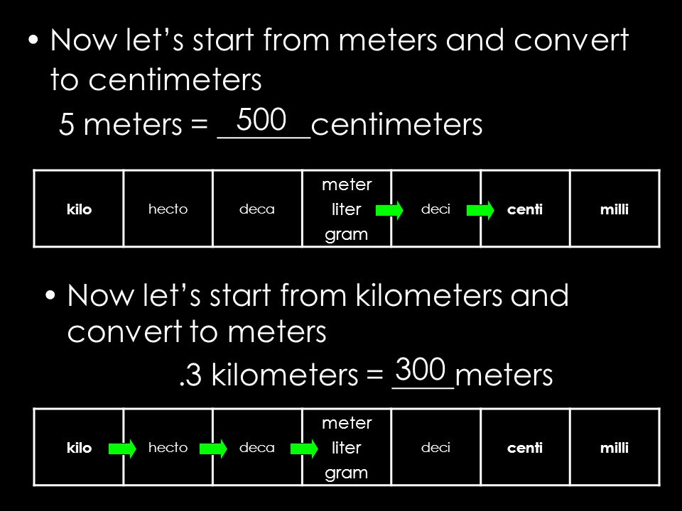 Now lets start from meters and convert to centimeters 5 meters = ______centimeters kilo hectodeca meter liter gram deci centimilli kilo hectodeca mete