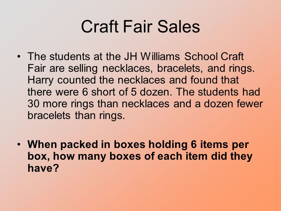 Craft Fair Sales The students at the JH Williams School Craft Fair are selling necklaces, bracelets, and rings.